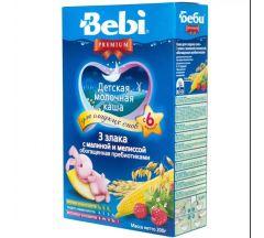 Беби каша молочная Премиум 3 злака/малина/мелисса от 6мес. 200г